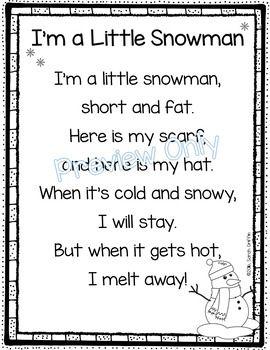 I'm a Little Snowman poem for kids | Winter poems | Snowman songs | Kindergarten | 1st grade | printable poems | poem of the week | poetry notebook