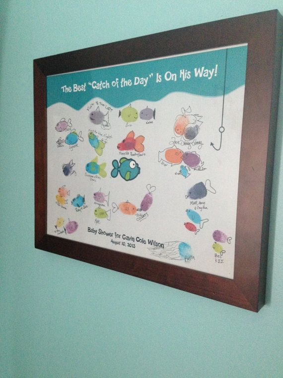 Fish Baby Shower Thumbprint Guest Book with by mewiDesign on Etsy