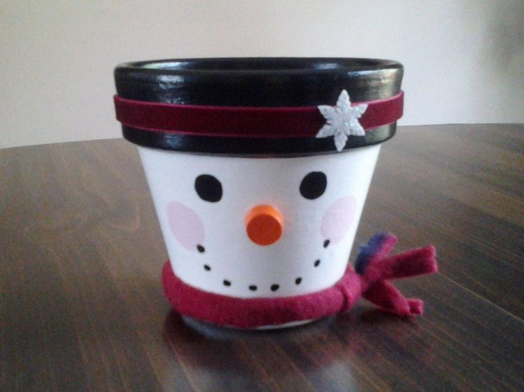 Snowman Painted Clay Pot with Red Scarf. $12.00, via Etsy.