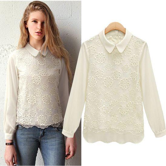 Aliexpress.com : Buy Fashion 2013 fashion autumn turn down collar crochet long sleeve 9097 organza chiffon shirt from Reliable shirt sleeve suppliers on Cherry&jiang. $25.40