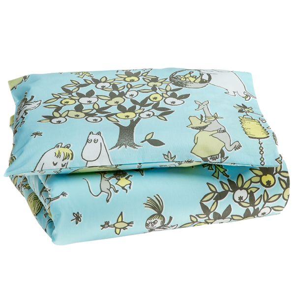 Juhlamuumi baby duvet cover set, blue/grey, by Finlayson.