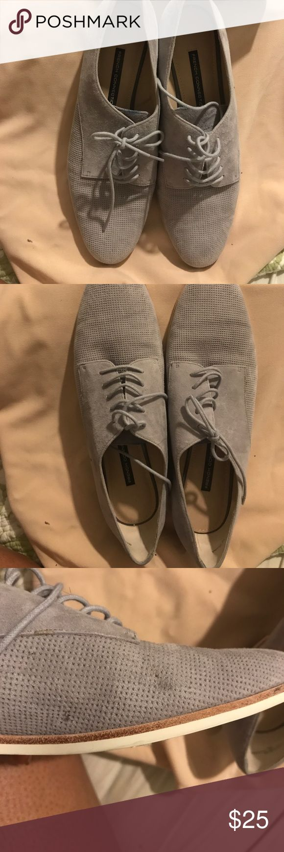 Grey oxford Grey Oxfords perforated toe cute for the summer.  A few minor scuffs from wear shown in the pictures French Connection Shoes Flats & Loafers