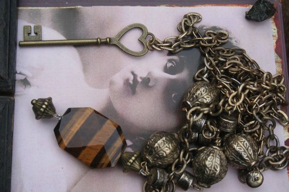 Boho Assemblage Necklace Tigers eye pendant Tigers eye