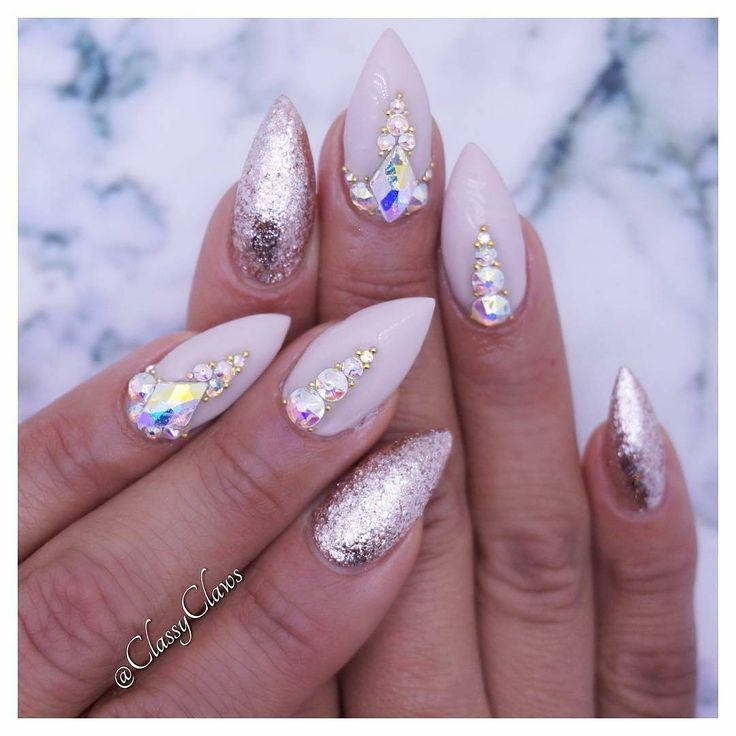 Neutral Nails With Bling By Classyclaws Nails Glitter Nail Art Neutral Nails
