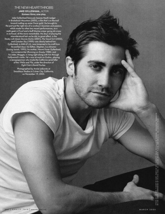 Jake Gyllenhaal | Photographed by Annie Leibovitz for Vanity Fair March 2006