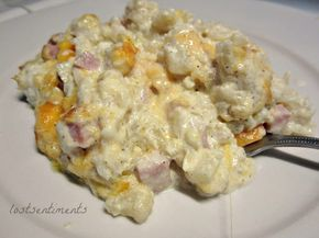 lostsentiments: Cauliflower Mac and Cheese with Ham Casserole Recipe - Low Carb