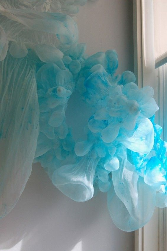 Lisa Kellner's delicate fabric structures resemble jellyfish or coral as much as something cancerous or viral.