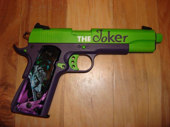 """""""The Joker"""" 1911- with Duracoat Goddess Purple and Queens Green"""