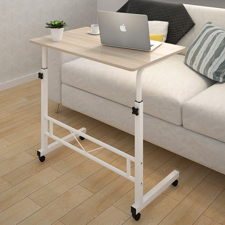 Adjustable Portable Sofa Bed Side Table Laptop Desk with Wheels (White Frame)                                                                                                                                                                                 More