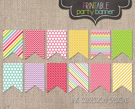 Colorful Rainbow Printable Party Banner Bunting Banner Pdf