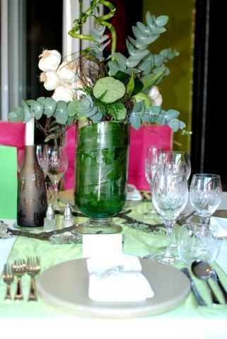 Close-up of floral arrangements which feature garlic wreaths as part of the Plascon Double Velvet Birthday Competition.