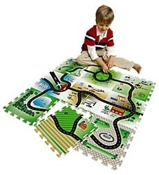 Set of 9 EVA Foam Tiles Roadway Play Mat in Holiday 2012 from HearthSong