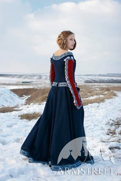 medieval fantasy woolen dress ldquo red sleeves rdquo mittelalter kleid