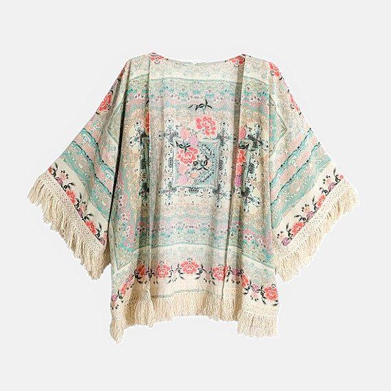 Floral Print Fringe Kimono Jacket, Boho Clothing Kimono ...
