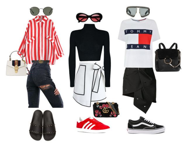 """""""Edgy casual"""" by mila-randall on Polyvore featuring Valentino, Anthony Vaccarello, ASOS, Vans, Chicwish, adidas, Tommy Hilfiger, Gucci, Ray-Ban and Chloé"""