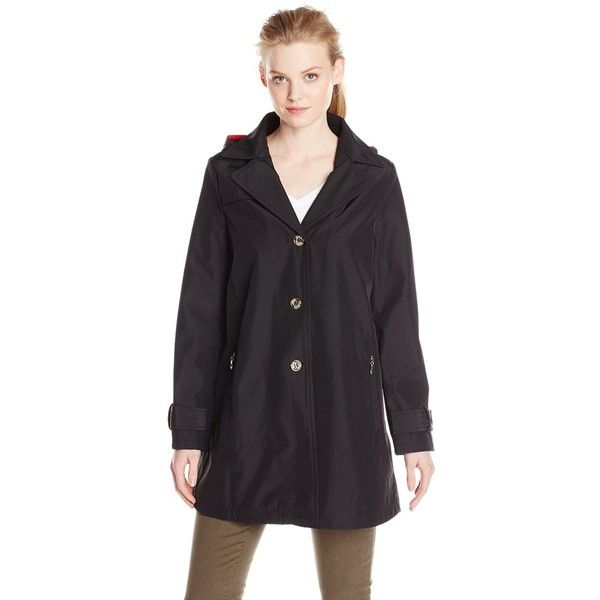 Larry Levine Women's Swing Raincoat with Hood (€30) ❤ liked on Polyvore featuring outerwear, coats, single-breasted trench coats, hooded coat, larry levine coats, hooded raincoat and hooded rain coat
