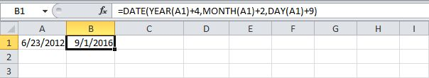 EXCEL - Function DATE(Add Years, Months and Days)
