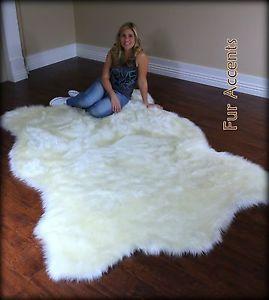FUR ACCENTS Faux Fur White Polar  Bear Area Rug / Off White Hide Shape All Sizes