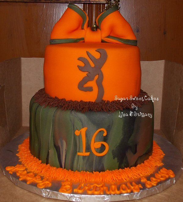 """Camo Sweet 16 - 6"""" & 8"""" cakes covered in fondant with fondant decorations. Bow was hand made out of fondant. TFL!"""