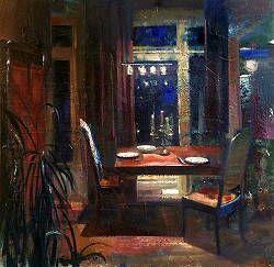 Eettafel | interieur schilderij in olieverf van Simeon Nijenhuis | Exclusieve kunst online te koop in de webshop van Galerie Wildevuur