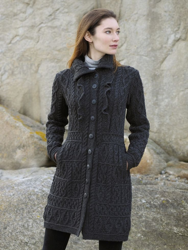 Ruffle Coat by Natallia Kulikouskaya for Aran Crafts of Ireland