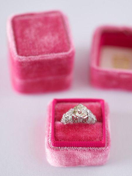 Pink Wedding Inspiration ~ Velvet Ring Box: The Mrs. Box