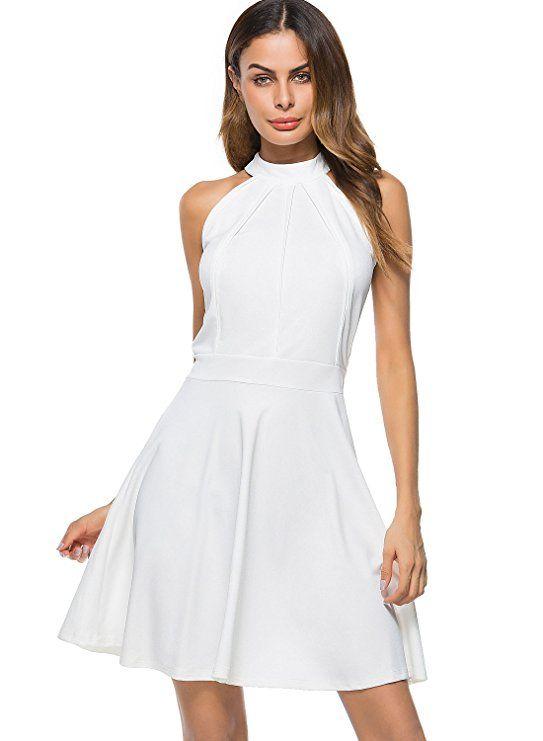 1efc8f611f Berydress Women s Sleeveless Halter Neck A-Line Casual Party Dress ...