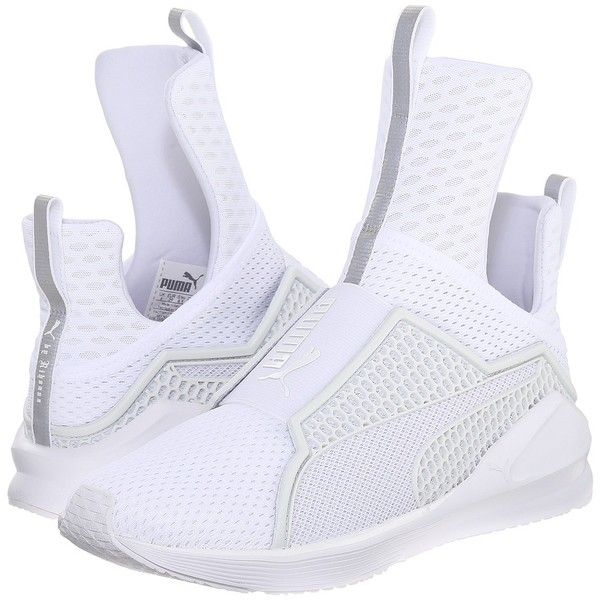 PUMA Fenty Trainer (White/White) Women's Shoes ($180) ❤ liked on Polyvore featuring shoes, athletic shoes, white slip on shoes, traction shoes, puma athletic shoes, stitch shoes and breathable mesh shoes