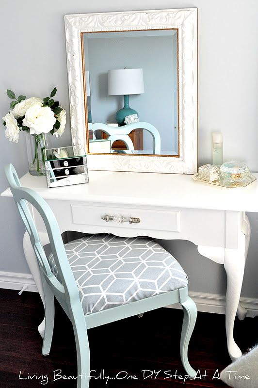 """Hello beautiful people! Today, one of my blogging bffs is sharing an amazing vanity makeover with you! Check it our and show her some love! Thanks, Melissa! ____________________________________________________________ You might remember me introducing you to my $10.00vanitythat I """"picked"""" from Kijiji last summer, here, or my antiquevanity chairthat I also found on Kijiji for $10....Continue Reading"""