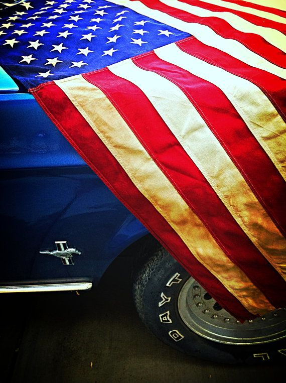 Vintage American flag, classic gas station decor for 4th of July holiday #Ford #Mustang by LunchLadyVintage, $85.00
