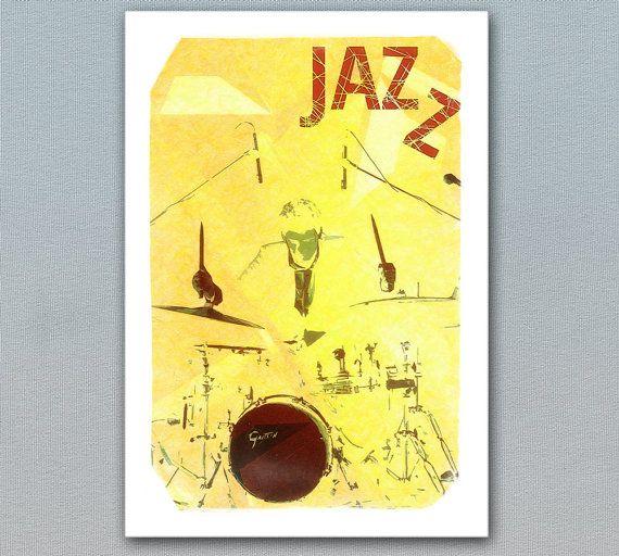 "Jazz Poster Fine Art by cinema4design, Jazz Drums Illustration, Jazz Prints, Music Art, Jazz Poster, Jazz Club Interior, Fine Art Print, From ""Jazz Posters"" collection. #jazz #music #drums #posters #musicposter #artprint #walldecor"