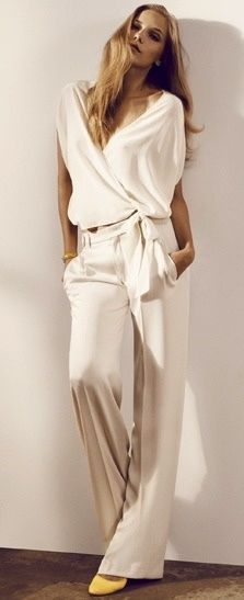 All white top + pants. women fashion outfit clothing style apparel @roressclothes closet ideas
