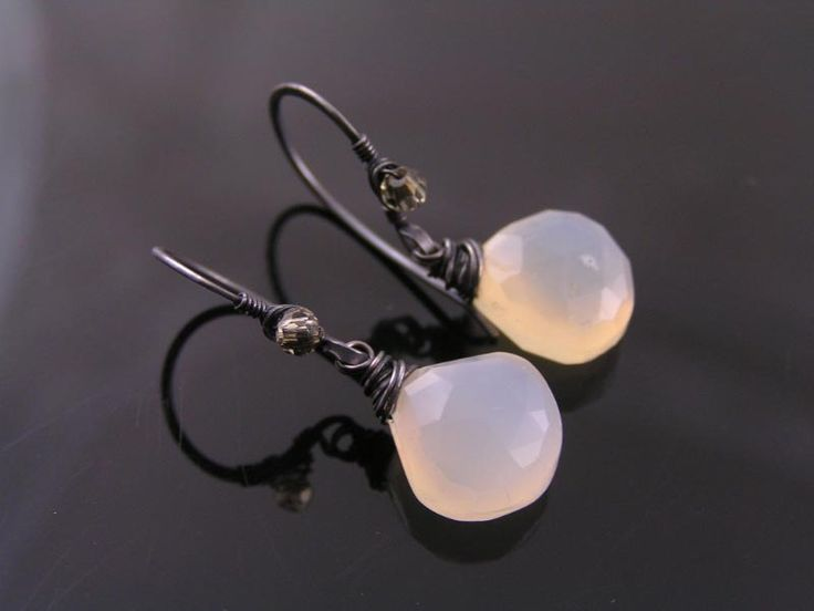 Gray Chalcedony Earrings, Wire Wrapped Earrings, Chalcedony Jewelry, Black and White, Copper Earrings, Copper Jewelry, Artisan Jewelry by ClassicMinimalist on Etsy
