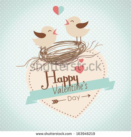 Happy Valentines Day card with cute bird couple - stock vector