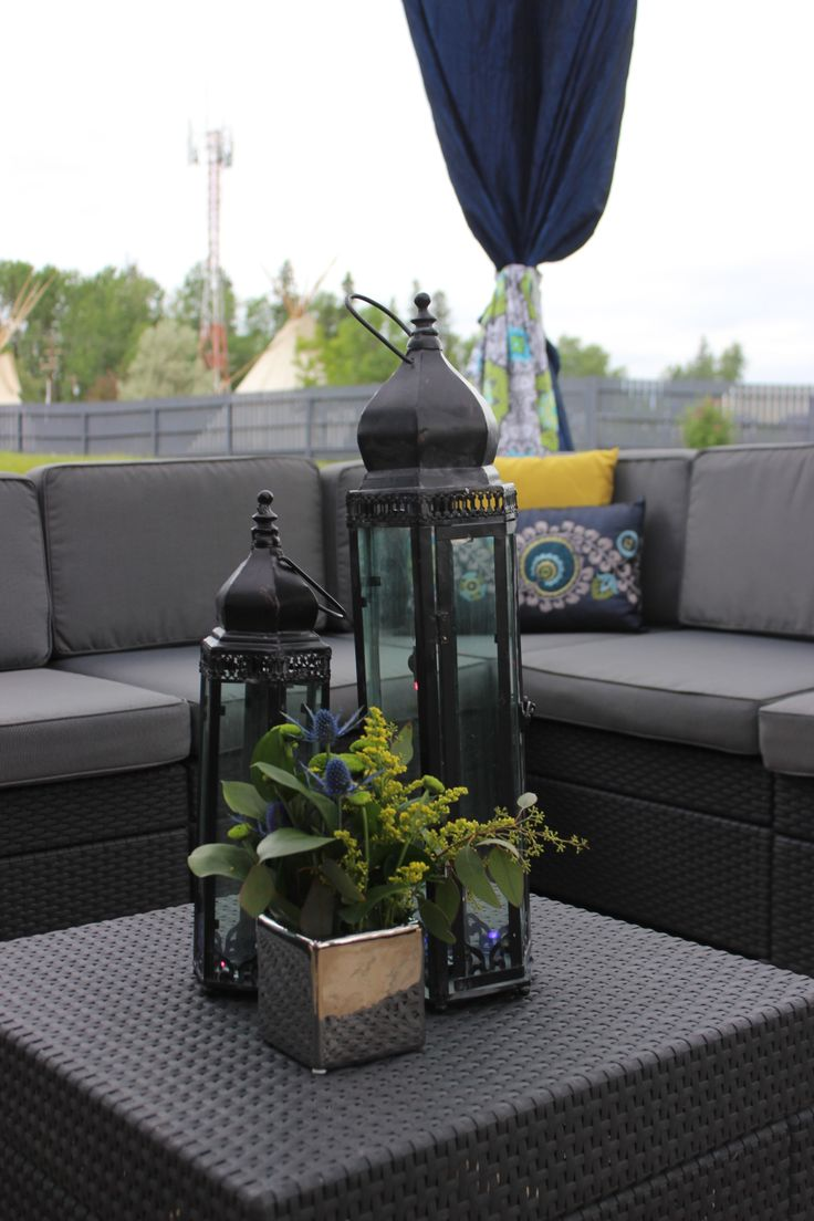 Punchtin votives and smaller florals were added to seating areas for a luxury feel to the lounge areas