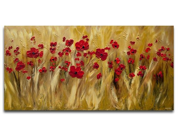 Modern Red Poppies Abstract Painting Large Poppy Field Etsy Poppy Field Painting Abstract Painting Abstract Art Paintings Acrylics