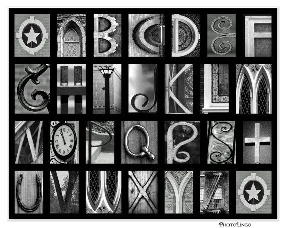 8x10 a z black and white alphabet print abcs made out of photo letters art