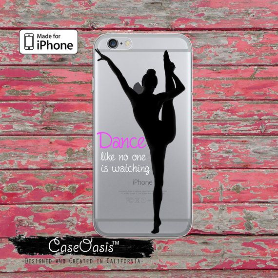 Ballerina Dance Like No One Is Watching Quote Clear Rubber Phone Case For iPhone 6, iPhone 6 Plus, iPhone 5/5s, iPhone 5c Transparent Case