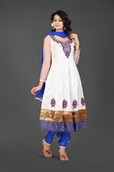 Picture of White and Blue Kameez with Churidar