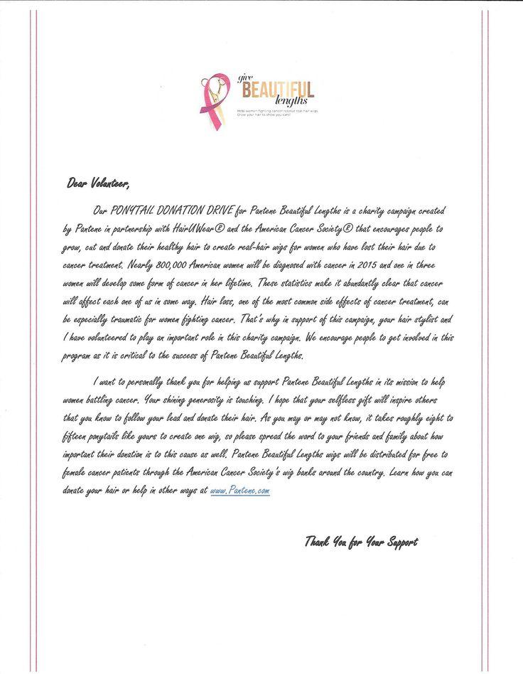 10 best Pantene Beautiful lengths Donation Kit images on Pinterest - donation thank you letter