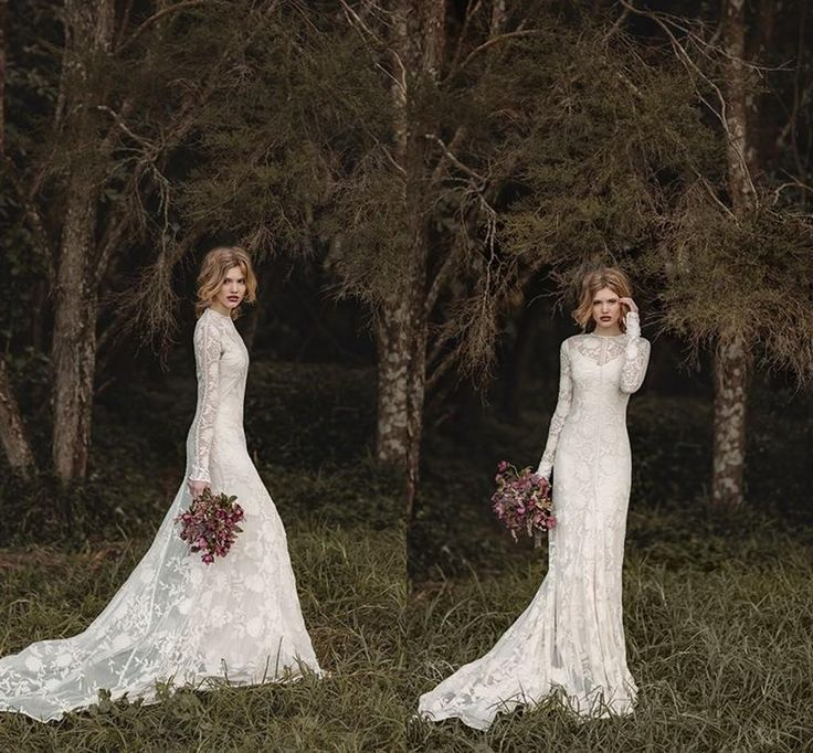 Elegant Lace Bohemian Long Sleeve Wedding Dresses 2016 Sheer Neck Full Back Floor Length A Line Country Bridal Dresses Cheap Gown Mermaid Wedding Gowns New Wedding Dresses From Gaogao8899, $154.98| Dhgate.Com