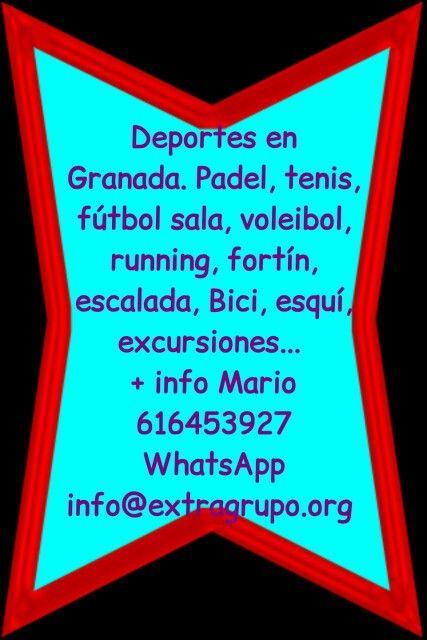 Deportes en Granada. Padel, tenis, fútbol sala, voleibol, running, fortín, escalada, Bici, esquí, excursiones ,  etc  https://www.facebook.com/pages/Deportes-Granada/3244746977 + info Mario 616453927 WhatsApp info@extragrupo.org
