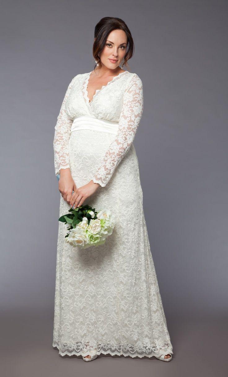 Vestido de novia plus-size con encaje y manga larga