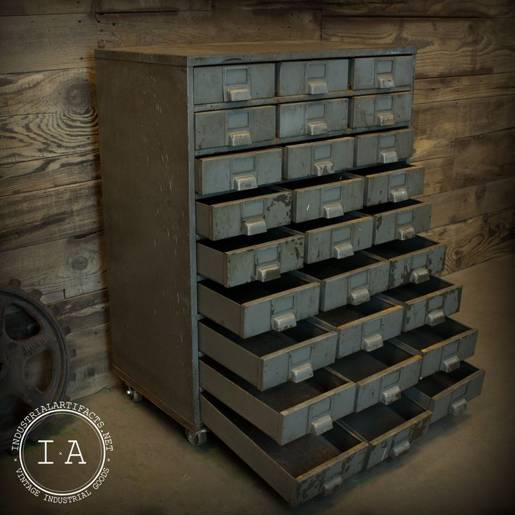 Industrial grey 27 drawer steel file organizer cabinet - Mobiliario vintage industrial ...