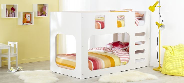 Saturn White Children's bunk bed with white bedroom furniture, pink and yellow striped linen and bright décor in shades of pink and yellow