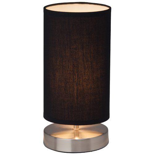 CLARIE - stolová lampa - chróm+textil - čierna - 255mm