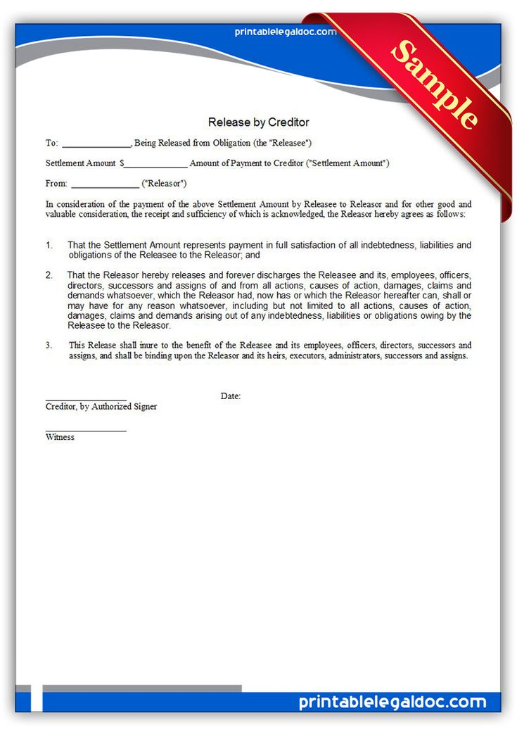 free printable release by creditor legal forms