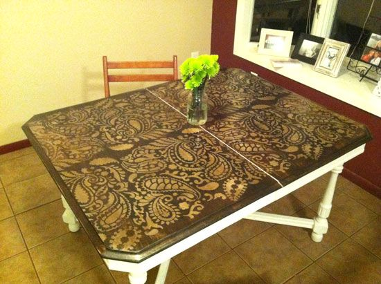 Painting Ideas With Stencils: DIY Paisley Tabletop. Stenciled Dining TableStencil  ...