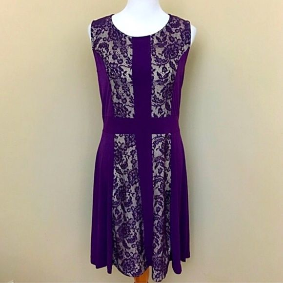 """Candalite Plum Lace Fit and Flare Lace Dress- New Cute and sexy plum and tan lace dress from Candalite. Look fun and flirty and the lace adds an edgy style to it. Polyester-spandex shell with polyester lining. Approx length is 36"""". Brand new with tags! Size Medium (6-8) Candalite Dresses"""