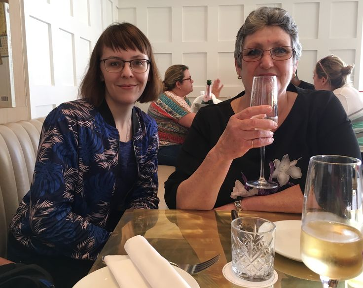 Caro and Monica, celebrating Alyssa's birthday at Lily's in Mouille Point, Cape Town, 06/10/2017